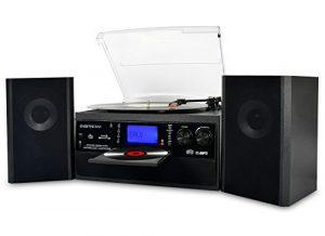 DIGITNOW! Platine Vinyle Bluetooth USB mp3 et Fonction Encodage Classique Lecteur CD avec CD Cassette Radio 33/45/78 RPM avec Deux haut-parleurs externes