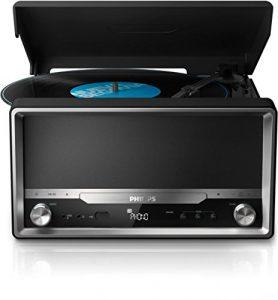Philips OTT2000B Retro Soundsystem mit Bluetooth (LP-Wiedergabe, USB Rip, USB, UKW, CD-MP3) schwarz