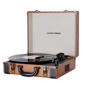 MUSITREND Platine Vinyle Tourne-Disques Valise Portable Avec 2 Haut Parleurs IntéGréS, Marron & Noir