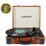 Lauson Lecteur Platine Vinyle Bluetooth | Tourne Disque | USB | Mp3 | RCA | Trois Vitesse 33/45/78 avec Haut-Parleur Intégré | CL605 (Marron)