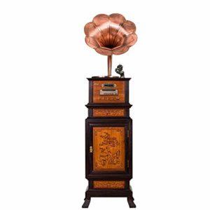 Tourne-disque disque vinyle Big Big Horn, Beau style européen d'art rétro, Apparence en bois naturel, Haut-parleurs de grande qualité sculptés à la main et de haute qualité en métal, Exquis et élégant