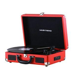 MUSITREND Tourne Disque, Platine Vinyle Rétro Bluetooth Portable à 3 Vitesses (33/45/78) avec 2 Haut-Parleurs, Encodage du Vinyle au MP3, SD/ USB/ Aux Entrée/ Sortie RCA, Rouge