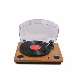 Tourne-disque vintage avec haut-parleurs, platine pour disques vinyles, entraînement par courroie à 3 vitesses, design rétro en bois, connecte les appareils électroniques, pour les disques vinyle