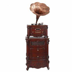 RAPLANC Phonographe Big Horn Classique en cuivre, Le Haut-Parleur rétro doté d'un Excellent Son Clair et Net remplit Votre pièce, Pleine de Charme,Marron