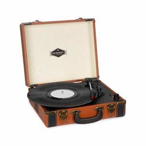 AUNA Jerry Lee BT – Platine Vinyle , Fonction Bluetooth , Valise de qualité supérieure , Look des années 50 , 33, 45 et 78 t/Min , Entrée AUX , Sortie stéréo RCA , Champagne