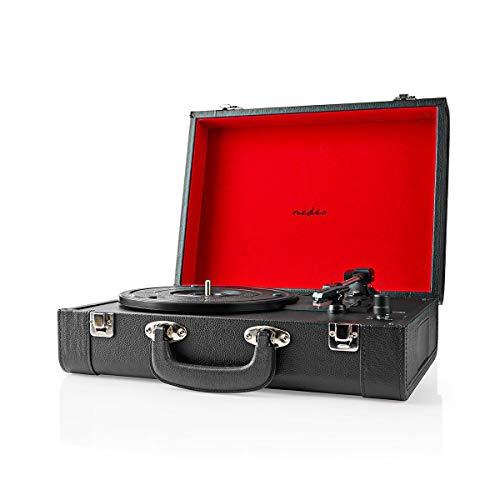 Ansim Tourne-disque vinyle rétro avec haut-parleur intégré, alimentation USB, prise en charge RCA et prise casque, Bluetooth, valise noire