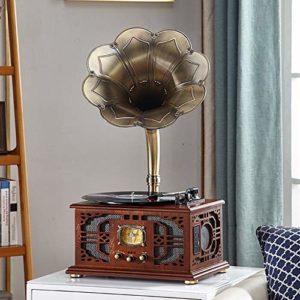 Dfghbn Tourne-Disque Hôte Unique en Bois Massif Gramophone LP Retro Record Player Vintage Joueur Accueil Rétro Platines vinyles (Couleur : Marron, Size : 38x30x74cm)