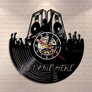 DJ haut-parleur horloge murale DJ votre nom personnalisé disque vinyle horloge murale personnalisé DJ nom unique décoration de la maison DJ amant musique cadeau Avec lumière,sept couleurs,12 inches