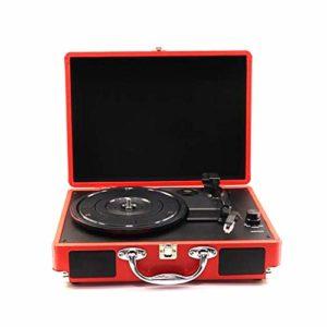 Enceinte Bluetooth – Lecteur d'enregistrement – Enceinte Bluetooth – Platine rotative portable – Vinyle vintage – Multifonction, Rouge, Taille unique