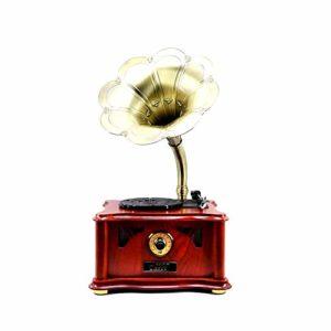 Haut-parleur Bluetooth vintage en vinyle, lecteur de vinyle, klaxon, tourne-disque Bluetooth, tourne-disque avec décoration de la maison Bluetooth, fort et clair, bois, Taille unique