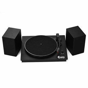 KTOO VMO-014 Platine tourne-disque vinyle classique avec deux haut-parleurs externes puissants pour prise en charge des enregistrements 33/45 tr/min Lecture de connexion sans fil BT