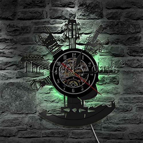CVG 1 pièce Horloge de Guitare avec rétroéclairage LED Cadeau pour Les Amateurs de Rock LED Vinyle Record veilleuse Guitare instrucment Mur Lampe à LED