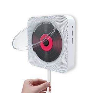 JYKOO Montage Mural Lecteur CD Audio FM Radio Bluetooth Haut-Parleur intégré Salut-FI pour Les Enfants, sous Tension ou Arrêt avec Interrupteur de Traction,Blanc,CD