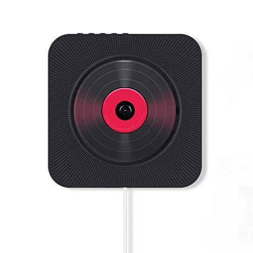 JYKOO Montage Mural Lecteur CD Audio FM Radio Bluetooth Haut-Parleur intégré Salut-FI pour Les Enfants, sous Tension ou Arrêt avec Interrupteur de Traction,Noir,CD