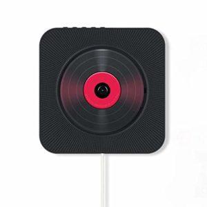 JYKOO Montage Mural Lecteur CD Audio FM Radio Bluetooth Haut-Parleur intégré Salut-FI pour Les Enfants, sous Tension ou Arrêt avec Interrupteur de Traction,Noir,DVD