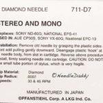 Pfanstiehl 711-D7 Stylet phonographe pour Panasonic EPS-38 EPS-41 EPC-16 17