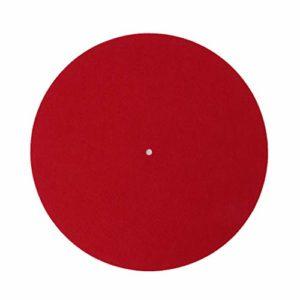 zkm Platine Vinyle Slipmat Audiophile 3mm Feutre Plateau Lecteurs de Disque Vinyle Anti-Vibration Durable Anti-Statique Rouge