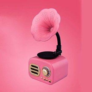 ALIZJJ Platine Vinyle, 50 Retro 3 Vitesses Turntable Bluetooth avec stéréo, sans Fil Mini Haut-Parleur intégré dans la Fente Rechargeable Carte TF Batterie for Bureau (Color : Pink)