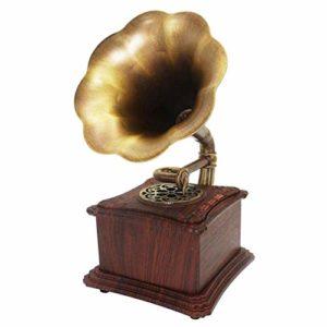 ALIZJJ Platine Vinyle, en Bois Massif Mini Rétro Style Classique phonographe Gramophone Forme Haut-Parleur stéréo Sound System Music Box de 3,5 mm Audio Blue Tooth 4.2 Aux-Vinyl Enregistrement