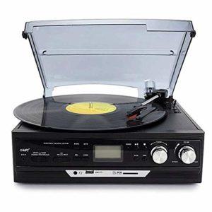 ALIZJJ Platine Vinyle, FM Vintage Multi-Fonctions Bande Radio Streaming Turntable, stéréo, Bluetooth Turntable Son supérieur (Couleur: Brun, Taille: Have Bluetooth) (Color : Black)