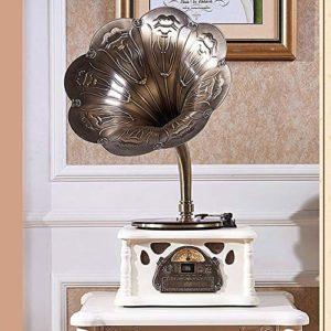 ALIZJJ Platine Vinyle, Machine de Vinyle Big Horn Radio Bluetooth phonographe phonographes 45 Adaptateur RPM, 3 Vitesse Turntable