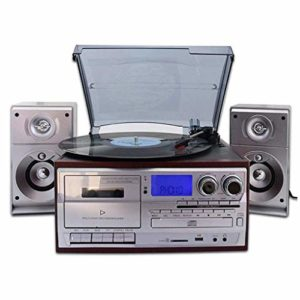 ALIZJJ Platine Vinyle, Vinyle phonographes Antique Phonograph classique Bluetooth phonographes avec USB et encodage 3 vitesses Radio FM Platine U disque carte SD Convient for cadeau et Cafe Restaurant