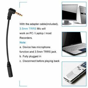 Bedler Microphone omnidirectionnel à pince portable à double tête Smartphone Ordinateur micro à revers 3,5 mm Plug and Play avec adaptateurs à clip en métal pour l'enregistrement d'une réunion d'entre