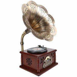 DLY – Gramophone rétro en vinyle – Polyvalent – Polyvalent – Lecteur CD Bluetooth – 42 x 32 x 88 cm