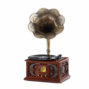 JHKJ Tourne-Disque Radio À Entraînement par Courroie, Gramophone Phonographe Vintage avec Corne de Cuivre, Phonographe Vintage de Tourne-Disque Vinyle pour la Maison, Le Bureau,A