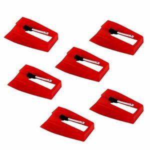 LUTER 6 Pièces Tourne-disque Aiguille Tourne-disque – Aiguilles Tourne-disque Stylet Remplacement Saphir Diamant Platine Vinyle pour Tourne-disque Vinyle – Rouge