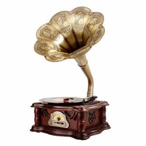 Lvhayon Big Horn phonographe Retro Vinyle phonographes Ornements Accueil Classique phonographes Président Vintage (Color : A)