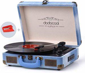 Platine Vinyle Bluetooth, dodocool Tourne Disque Rétro Portable, Trois Vitesses 33/45/78 TR/Min avec des Haut-parleurs Stéréo, Encodage du Vinyle au MP3, SD/USB/Aux Entrée/Sortie RCA