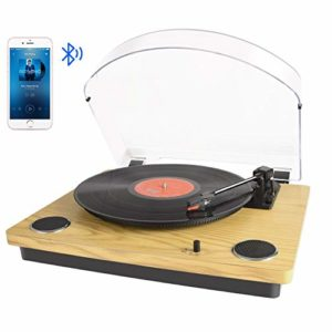 Platine Vinyle Bluetooth, Tourne-Disque à Trois Vitesse 33/45/78 avec Haut-parleurs intégrés, Encodage du Vinyle au MP3/ Aux Entrée/ Sortie RCA, Bois Naturel