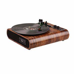 Platine Vinyle, VOKSUN Tourne Disque Vintage Bluetooth vinyles LP Lecteur vinyles à 3 Vitesses avec Haut-Parleur stéréo intégré , Fonction AM/FM, Aux Input et Sortie RCA – Bois Naturel