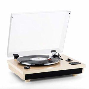 Shuman MC-262 SHUMAN MC-262 Platine Vinyle avec sélecteur 3 Vitesses (33/45/78 RPM), Bluetooth, Haut-parleurs stéréo intégrés, Enregistrement du Vinyle au MP3, Couleur chêne