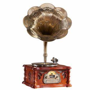 Gramophone, Corne de phonographe Double Cornes de Milieu de Gamme La Forme est exquise et élégante Le Stylet Ruby est Durable La Texture d'apparence est Bonne Tourne-Disque Vinyle