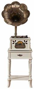 Gramophone/Phonograph Voice Nostalgie Musique rétro avec Haut-parleurs stéréo • Radio • CD • MP3 et USB avec klaxon (y Compris Support de Table), 3 Vitesses (33/45/78)