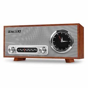 Victrola Broadway Horloge analogique Radio-réveil Bluetooth – Acajou