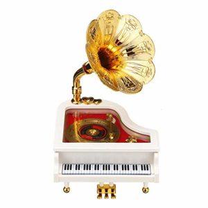 Boîte MusicaleDécorations Pour La Maison De Boîte à Musique De Corne De Trompette D'or De Phonographe De Piano Rétro VintageArtisanat De Décoration De La Maison (Size:14.8×15.5×8.5cm; Color:White)