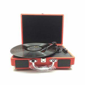 HIUHIU Portable en Cuir Cas Gramophone Lecteur Disque Vinyle phonographe rétro Haut-Parleur Bluetooth Table tournante Sortie Audio RCA 33/45 / 78t,Rouge