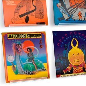 Hudson Hi-Fi Affichage Mural pour Disque Vinyle LP – Paquet de Quatre – Affichez Votre écoute Quotidienne avec Style – Acrylique Transparent