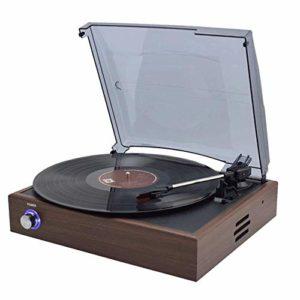 QIDOFAN Artisanat Disque Vinyle Retro Lecteur CD Bluetooth Moderne Maison Gramophone Old LP Record Player Haut-parleurs Continental élégant et Beau
