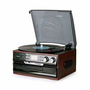 QIDOFAN Artisanat Noir Disque Vinyle Multifonction Machine Modèles Moderne européenne CDFM Radio U Disque Carte SD LP Rétro Son Ancienne Gramophone Record du Joueur élégant et Beau