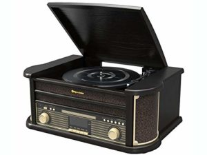 Roadstar HIF-1898D + BT Black Wooden Rétro FM / Dab Radio 33 / 45 / 78 TR/Min Turntable Record Player with CD Player, Bluetooth, USB, AUX-in