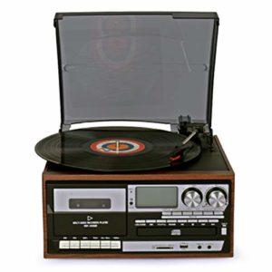 WeiX Phonographes, lecteurs et enregistreurs Cassettes portatifs Haut-parleurs et USB Belt-Driven Vintage phonographe Speed Record Player, pour Le Divertissement