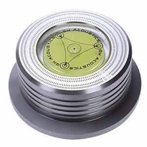 Yaootely Pince Universelle De Stabilisateur De Plaque Tournante Disque Audio Record Vinyle 50/60Hz LP Pince De Poids en Aluminium avec Bulle De Vitesse D'Essai (Argenté)