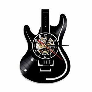 GenericBrands Horloge Vinyle Guitare Rétro Record Musique Cadeau pour Les Favoris 12pouce(Pas de lumières)