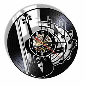 GenericBrands Horloge Vinyle Instrument de Guitare (3) Rétro Record Musique Cadeau pour Les Favoris 12pouce(Pas de lumières)
