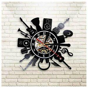 GenericBrands Horloge Vinyle Instrument de Musique Rétro Record Musique Cadeau pour Les Favoris 12pouce(Pas de lumières)