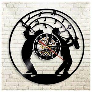 GenericBrands Horloge Vinyle Jazz Rétro Record Musique Cadeau pour Les Favoris 12pouce(Pas de lumières)